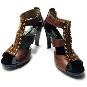 Michael Kors Platform Sandal Brown Leather 8.5 Zip